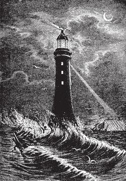 Eddystone Lighthouse, vintage illustration.