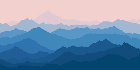 Photo sur Aluminium Bleu jean Fantasy on the theme of the morning landscape, sunrise in the mountains, vector illustration
