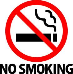 禁煙のマークと'NO SMOKING'の文字