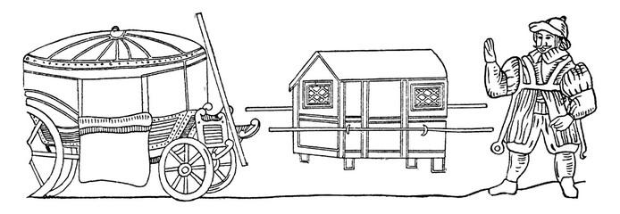 Coach and Sedan Chair, vintage illustration.