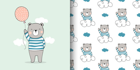 Draw card and print pattern bear for fabric textiles kids.