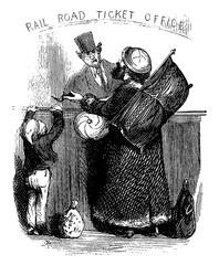 Man Purchasing Train Ticket, vintage illustration