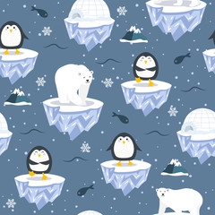 Christmas seamless pattern with penguin on ice floe background, Winter pattern with polar bear, wrapping paper, pattern fills, winter greetings, web page background, Christmas and New Year greeting