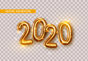 Happy New Year 2020. Golden metal numbers. Realistic 3d render signs. Luminous bright splash of gold bokeh lights. Isolated on transparent background. Fotomurales