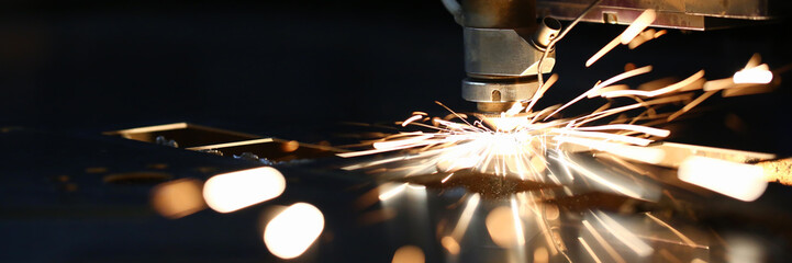 Acrylic Prints Metal Sparks fly out machine head for metal processing