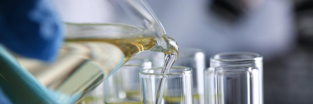 Yellow liquid spilled petrol additive innovative supply