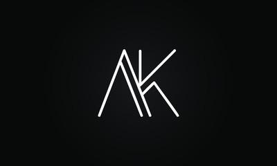 Obraz AK OR KA initial based letter icon logo Unique modern creative elegant geometric fashion brands black and white color - fototapety do salonu