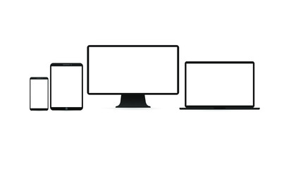 Realistic set of Monitor, laptop, tablet, smartphone - Stock Vector template