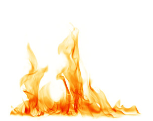 Photo on textile frame Fire / Flame Fire flames on a white background.