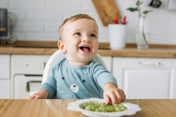 Charming happy little baby boy eating first food green grape at the bright kitchen at home Fototapete