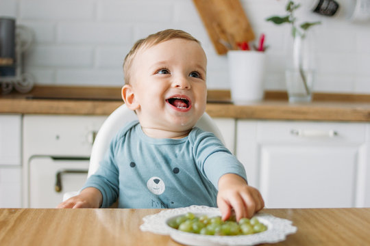 Charming happy little baby boy eating first food green grape at the bright kitchen at home