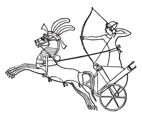 Egyptian War chariot, vintage illustration.