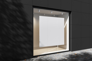 Exterior of a gray brick building with two square mock up posters in backlit windows. Mock up. 3d rendering