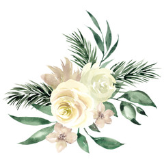 Bouquet with watercolor hand draw flowers and leaves, isolated on white background