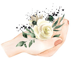 Watercolor illustration with nads and flowerrs, hand draw element isolated on white background