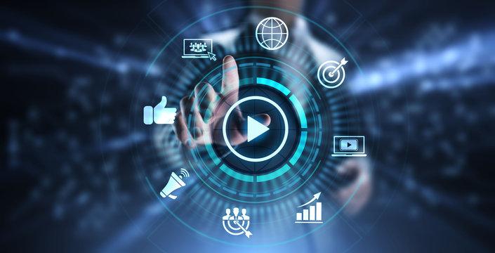 Video marketing online advertising business internet concept.