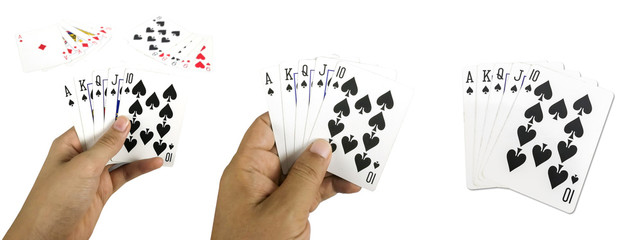 Set of Poker casino gambling Royal Straight Flush and blur full house , red Straight Flush  win and good luck. Isolated on white background with clipping path.