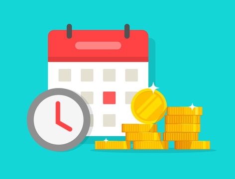 Time money savings vector, flat cartoon timer or clock with lots of loan or credit cash and calendar date, financial waiting or transaction payment deadline, time save success modern image