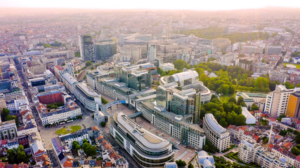 Keuken foto achterwand Brussel Brussels, Belgium. The complex of buildings of the European Parliament. State institution, Aerial View