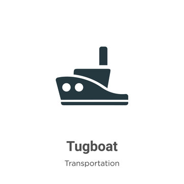 Tugboat vector icon on white background. Flat vector tugboat icon symbol sign from modern transportation collection for mobile concept and web apps design.