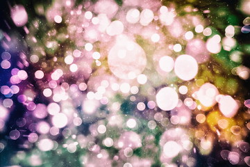 abstract background of blurred yellow lights with bokeh effect, new year