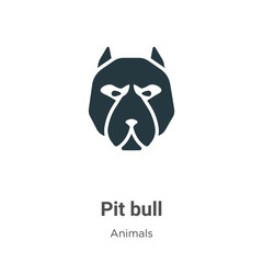 Pit bull vector icon on white background. Flat vector pit bull icon symbol sign from modern animals collection for mobile concept and web apps design.