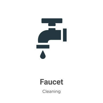 Faucet vector icon on white background. Flat vector faucet icon symbol sign from modern cleaning collection for mobile concept and web apps design.