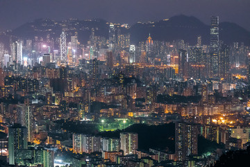 Wall Mural - Iconic view of cityscape of Hong Kong at night