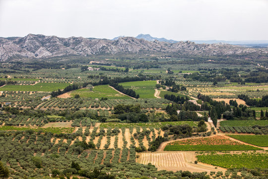 Panoramic view on Luberon valley from the famous Les Baux de Provence medieval village in Southern France