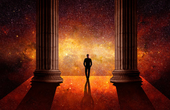 Man between columns in front of the universe