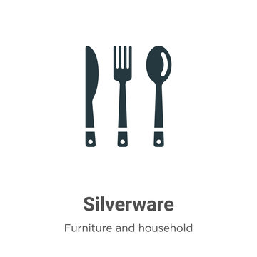 Silverware vector icon on white background. Flat vector silverware icon symbol sign from modern furniture and household collection for mobile concept and web apps design.