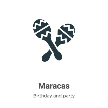 Maracas vector icon on white background. Flat vector maracas icon symbol sign from modern birthday and party collection for mobile concept and web apps design.