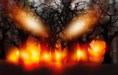 Wall Mural - 3D rendering Scary Jack O Lantern halloween pumpkin