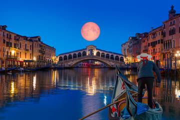 "Gondola near Rialto Bridge with moonrise - Venice, Italy ""Elements of this image furnished by NASA"""