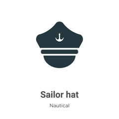 Sailor hat vector icon on white background. Flat vector sailor hat icon symbol sign from modern nautical collection for mobile concept and web apps design.
