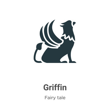 Griffin vector icon on white background. Flat vector griffin icon symbol sign from modern fairy tale collection for mobile concept and web apps design.