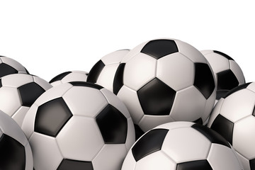 Heap of realistic soccer balls on white