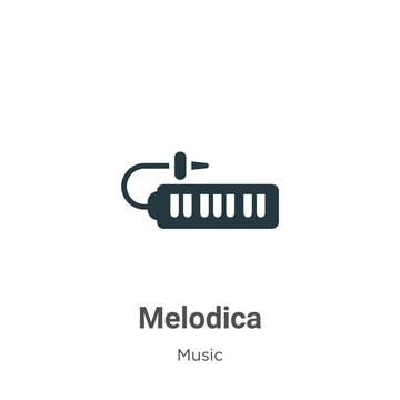Melodica vector icon on white background. Flat vector melodica icon symbol sign from modern music collection for mobile concept and web apps design.
