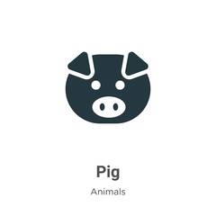 Pig vector icon on white background. Flat vector pig icon symbol sign from modern animals collection for mobile concept and web apps design.