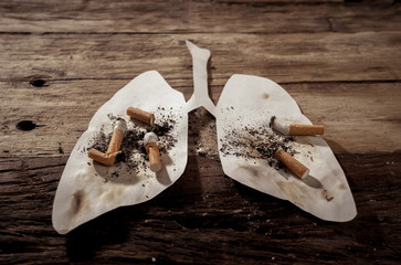 Smoking kills and lung cancer. Conceptual image of many cigarettes stubs and ash on paper lungs