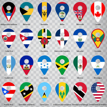 Twenty four Flags of American countries - alphabetical order with name.  Set of 2d geolocation signs like national flags of North and Central America. Twenty four geolocation signs. EPS10.