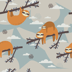 Seamless pattern, sloths on the branches, hand drawn overlapping backdrop. Colorful background vector. Illustration with animals. Decorative colored wallpaper, good for printing