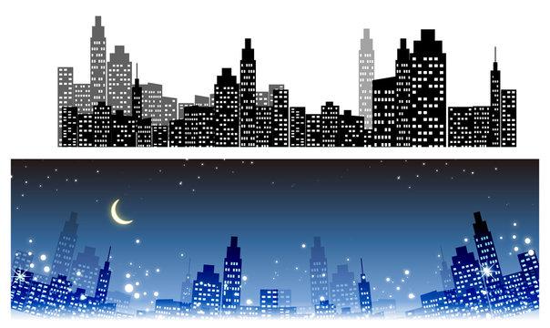 都会のイルミネーション・綺麗な夜景・街・ビルのシルエット