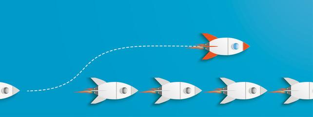 Obraz Fast Lane Rocket Innovative Startup Blue Header 2 - fototapety do salonu