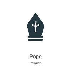 Pope vector icon on white background. Flat vector pope icon symbol sign from modern religion collection for mobile concept and web apps design.