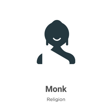 Monk vector icon on white background. Flat vector monk icon symbol sign from modern religion collection for mobile concept and web apps design.