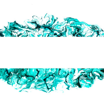 Creative abstract fluid art acrylic pouring green and turquoise shades background with place for text. Trendy painting.