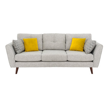 Gray Mid Back Linen Sofa Bed Isolated on White. Upholstered Loveseat with Armrests and Seat Cushion Front View. Three 3 Seater Couch with Four Yellow Scatter Pillows