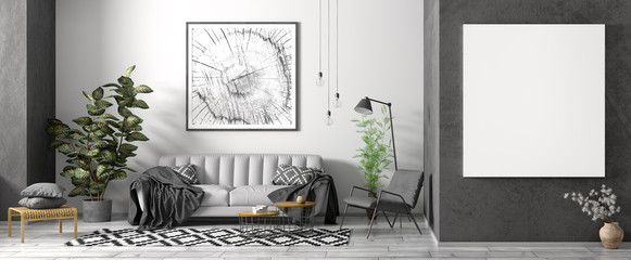 Modern interior of apartment, living room with grey sofa, black armchair, coffee tables and plant, panorama 3d rendering