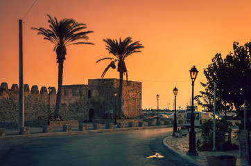 Amazing sunset over Venetian Fortress Kales. Ierapetra is  the southernmost city of Europe that faces the African coast and Libyan sea, situated in southeast Crete.